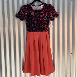 NWT Lularoe Print Amelia Day Dress XS